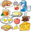Breakfast icons set isolated on a white...
