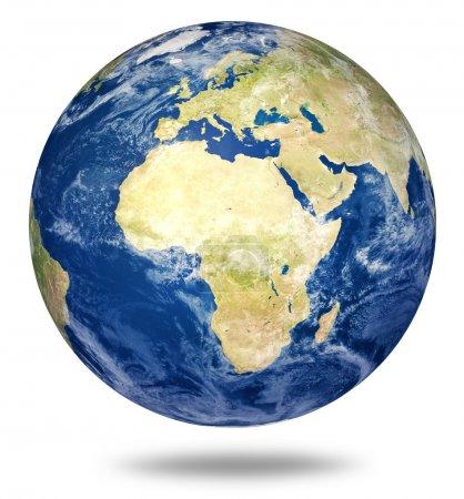 Planet Erde auf weiß - Afrika und Europa