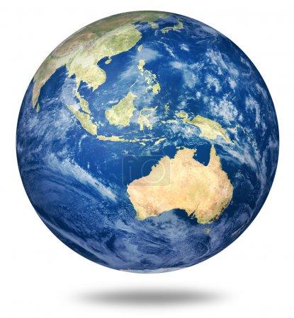 Planet Erde auf weiß - australische Ansicht