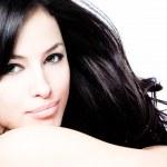 Young black hair woman beauty portrait, studio shot