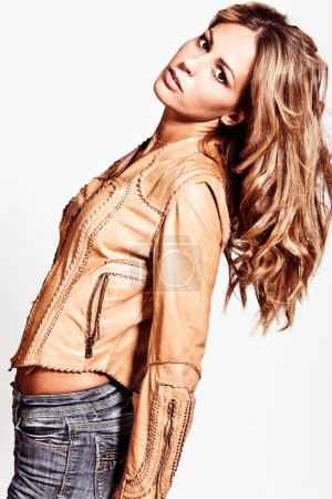 Blond in leather jacket