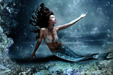 Mythology being, mermaid in underwater scene, phot...