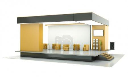 Photo pour Stand d'exposition vide. rendu 3D. - image libre de droit
