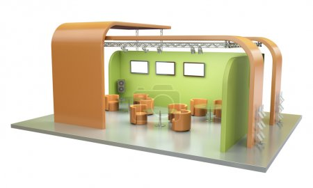 Photo for Empty trade event stand. 3D render. - Royalty Free Image