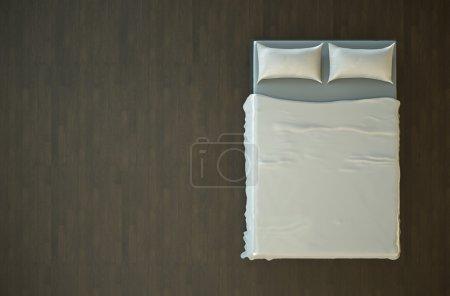 Photo pour Vue de dessus d'un lit vide avec literie blanche. rendu 3D . - image libre de droit