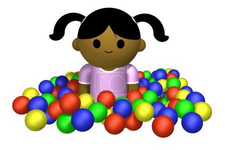 Girl playing in ball pool