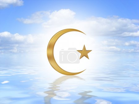 Photo for Illustrated Islam symbol on an ocean background - Royalty Free Image