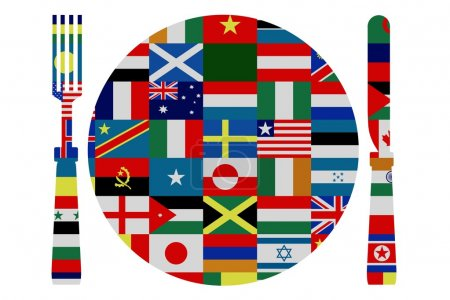 Photo for Isolated knife, fork and plate covered in world flags - Royalty Free Image