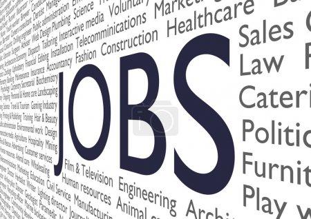 Photo pour Texte de nombreux types d'emplois et les industries avec les emplois du mot au milieu - image libre de droit