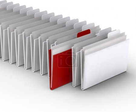 Folders on the white background. 3d concept