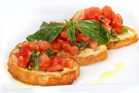 Photo for French toast with tomatoes Bruschetta (Italian Toasted Garlic Bread) with tomato - Royalty Free Image