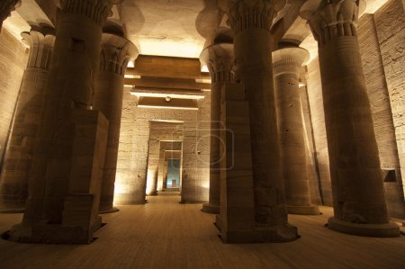 Columns at Temple of Isis on Philae Island in the ...