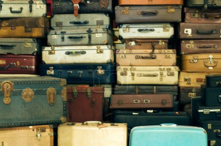 Photo for A lot of Old vintage suitcases - Royalty Free Image