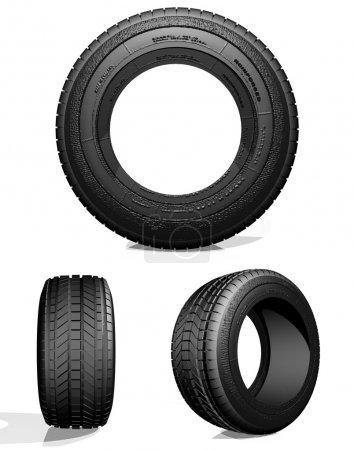 Photo for Automobile tire, the view from three sides on a light background, 3d image - Royalty Free Image