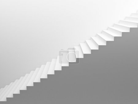 Photo for White empty stairs leading up, side view - Royalty Free Image
