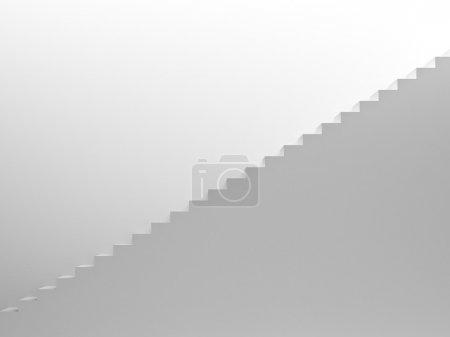 Photo pour Escalier blanc vide menant vers le haut, vue latérale - image libre de droit