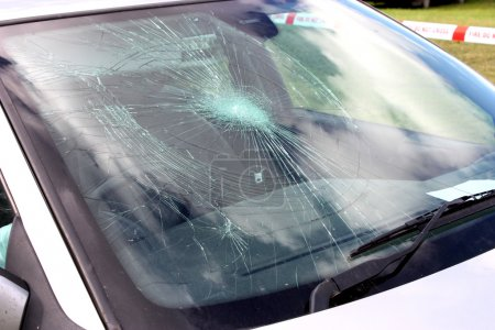 Broken Car Windscreen.