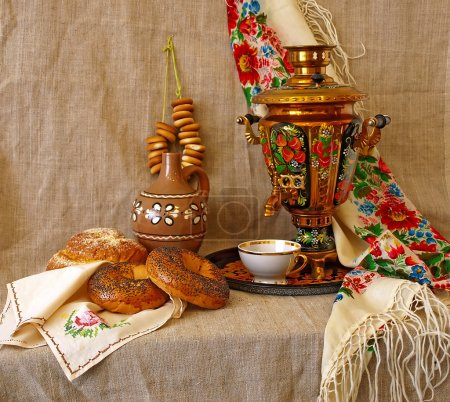 Still life with russian traditional samovar, cup a...