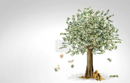 Photo for Money tree made of hundred dollar bills, on grey background - Royalty Free Image