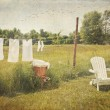 White cotton clothes drying on a wash line with vi...