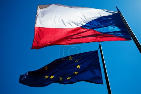 Flags of the European Union and the Czech Republic against the b
