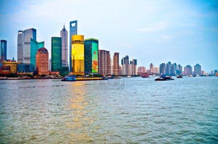 Tilted Shanghai Pudong skyline