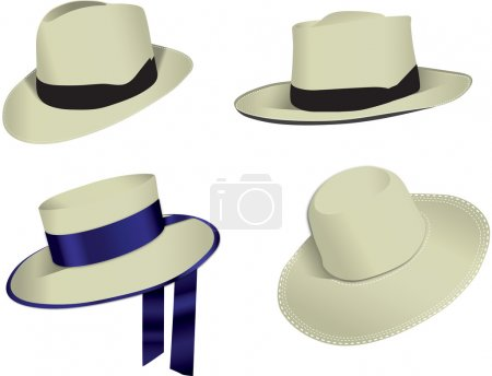 Four Panama hats isolated on white background, vec...