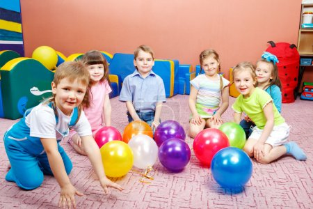 Photo for A group of preschool kids in kindergarten - Royalty Free Image