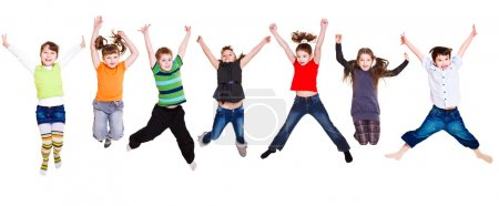 Photo for Collection of active junior kids jumping - Royalty Free Image
