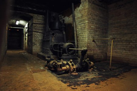 Old machinery in the dark building