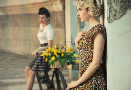 Photo for Fashion style photo of a gorgeous women wearing retro clothes - Royalty Free Image