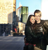 Cute young handsome couple posing