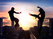 Two capoeira fighters over city background