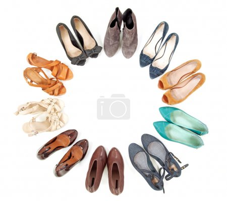 Photo for Many pairs of shoes in circle - Royalty Free Image