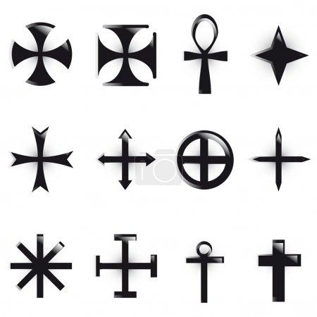 Photo pour Définir les croix. divers symboles religieux - image libre de droit