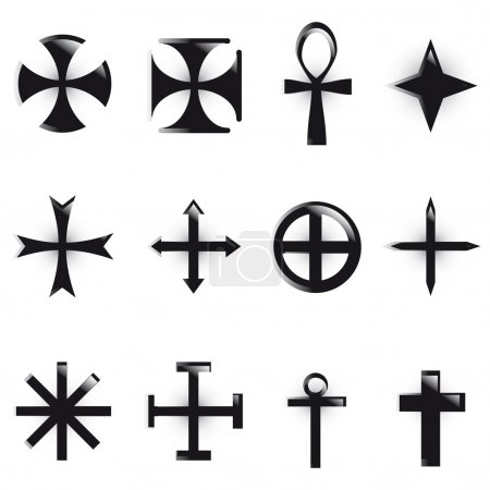 Photo for Set Crosses. various religious symbols - Royalty Free Image