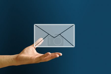 Photo for Hand carry the mail icon, You got mail concept - Royalty Free Image