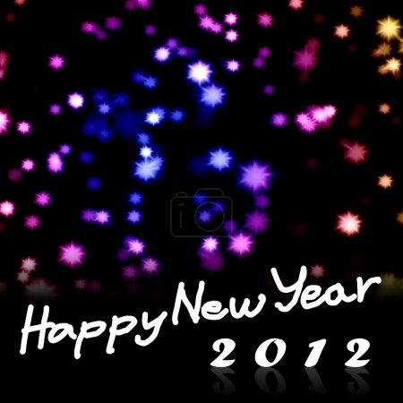 Happy New Year 2012 word with nice starry background