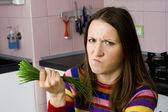 žena nelíbí zelenina