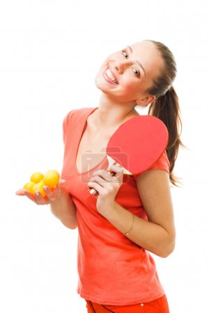 Happy woman - ping pong player