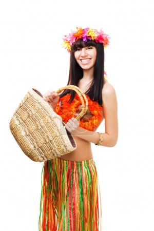 Woman in carnival costume with basket