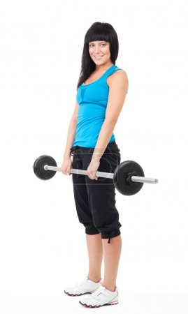 Happy woman lifting bar with weights