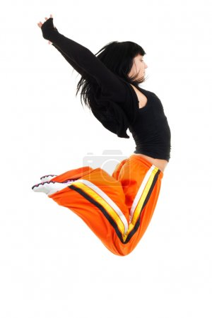 Exited woman jumping