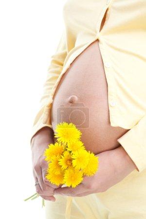 Pregnant woman holding dandelion