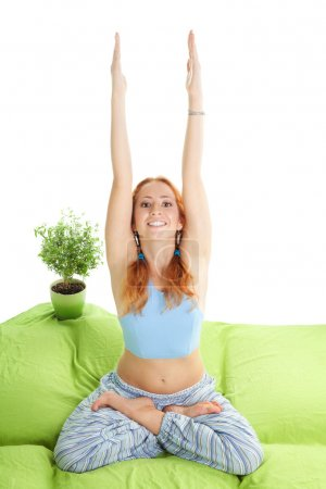 Home morning yoga exercise