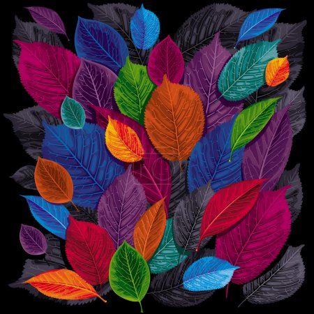 Illustration for Dark autumn leaves on black background - Royalty Free Image