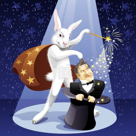 Illustration for White Rabbit-illusionist pulls out a magician from a hat - Royalty Free Image