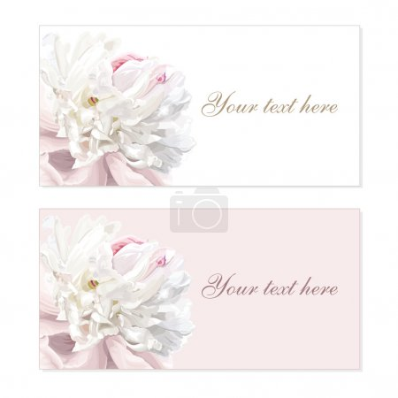 Illustration for Greeting cards with luxurious flower cards painted in pastel colors - Royalty Free Image