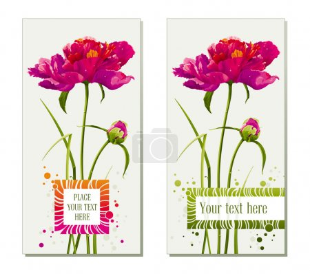 Illustration for Floral greeting cards with red peony flower and bud - Royalty Free Image