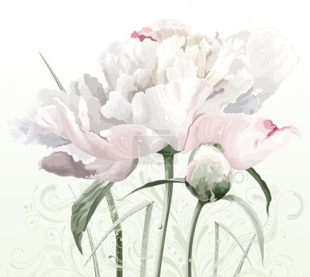 Illustration for Luxurious white peony flower painted in pastel colors with bud and floral pattern - Royalty Free Image